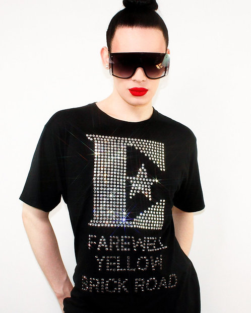 Elton John Farewell Yellow Brick Road - Rhinestoned Black T-Shirt