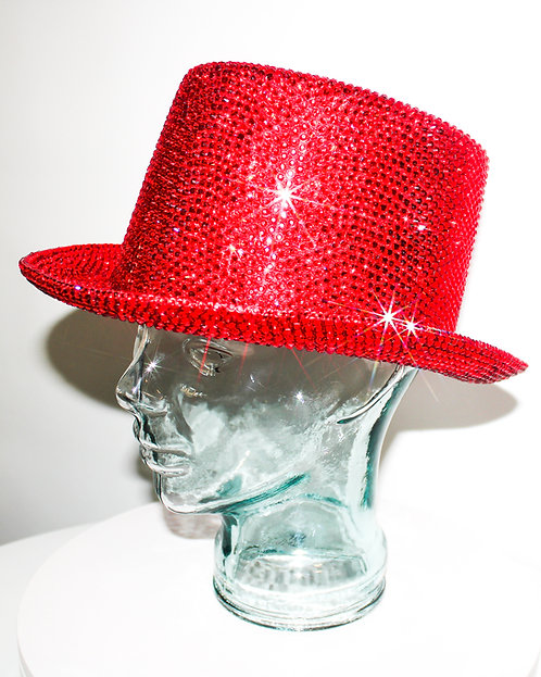 Red Rhinestoned Crystal Top Hat