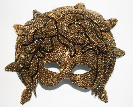 Gold Medusa Mask With Green Crystal Rhinestone Eyes