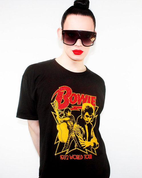 David Bowie 1972 World Tour Yellow / Red - Rhinestoned Black T-Shirt