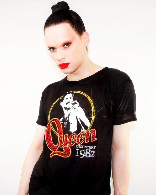 Queen 1982 - Rhinestoned Black T-Shirt