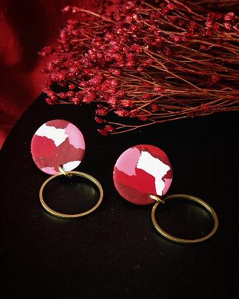 Puces Rondes Terrazzo Rouge Rose et Blanc et anneau en laiton