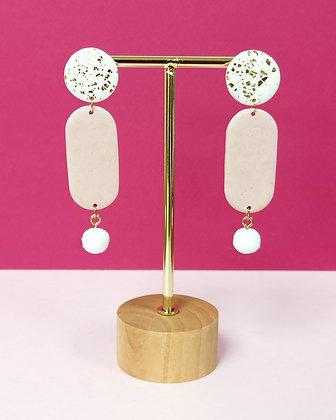 Jessy Blanches Dorées et Rose Pâle + pompon blanc