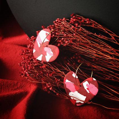 Pookie sur Créoles Terrazzo Rouge Rose et Blanc