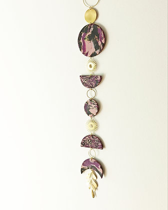 Talisman de Mur Violet Rose et Or