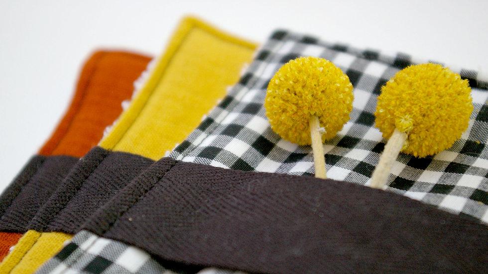 Lingettes réutilisables et lavables couleurs mixtes