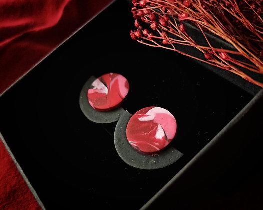 Puces Éclipse Roses et Rouges sur Noir