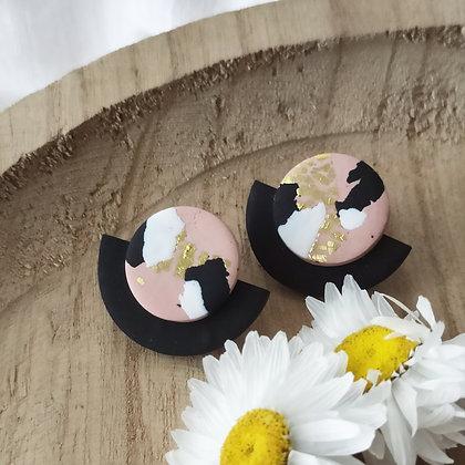 Puces Éclipse Roses terrazzo Noir Blanc et Or