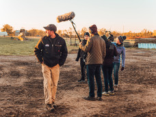 TJ and crew setting up for the first day of shooting.