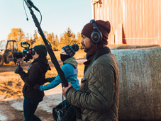 Location sound mixer Neal Shakyaver, director Samantha van der Bent and director of photography Jade McKenna.