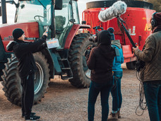 The crew prepares to capture TJ in the tractor, running the PTO.