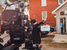 The first shot of the day - TJ leaving his home.