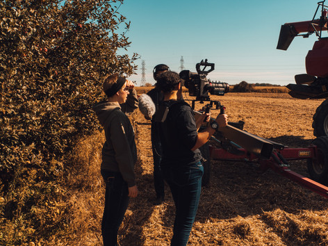The crew shoots a soybean harvest.