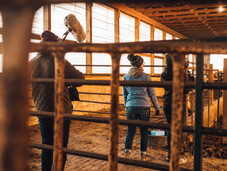 The crew shoot TJ tending to cattle.