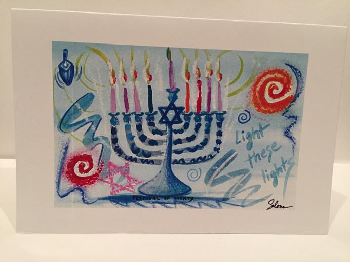 Chanukah Cards - 10 in a box, 5 each dreidel and 5 of menorah