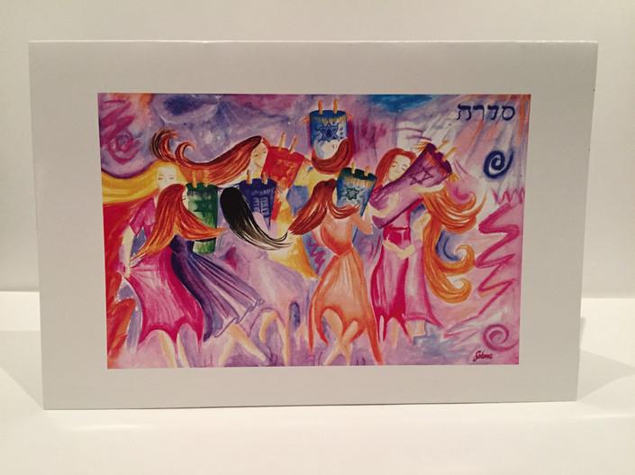 Women Dancing with Torah 3x5 cards. 10 in a box, 5 Miriams Dance, 5 Women Dancing $30 plus shipping