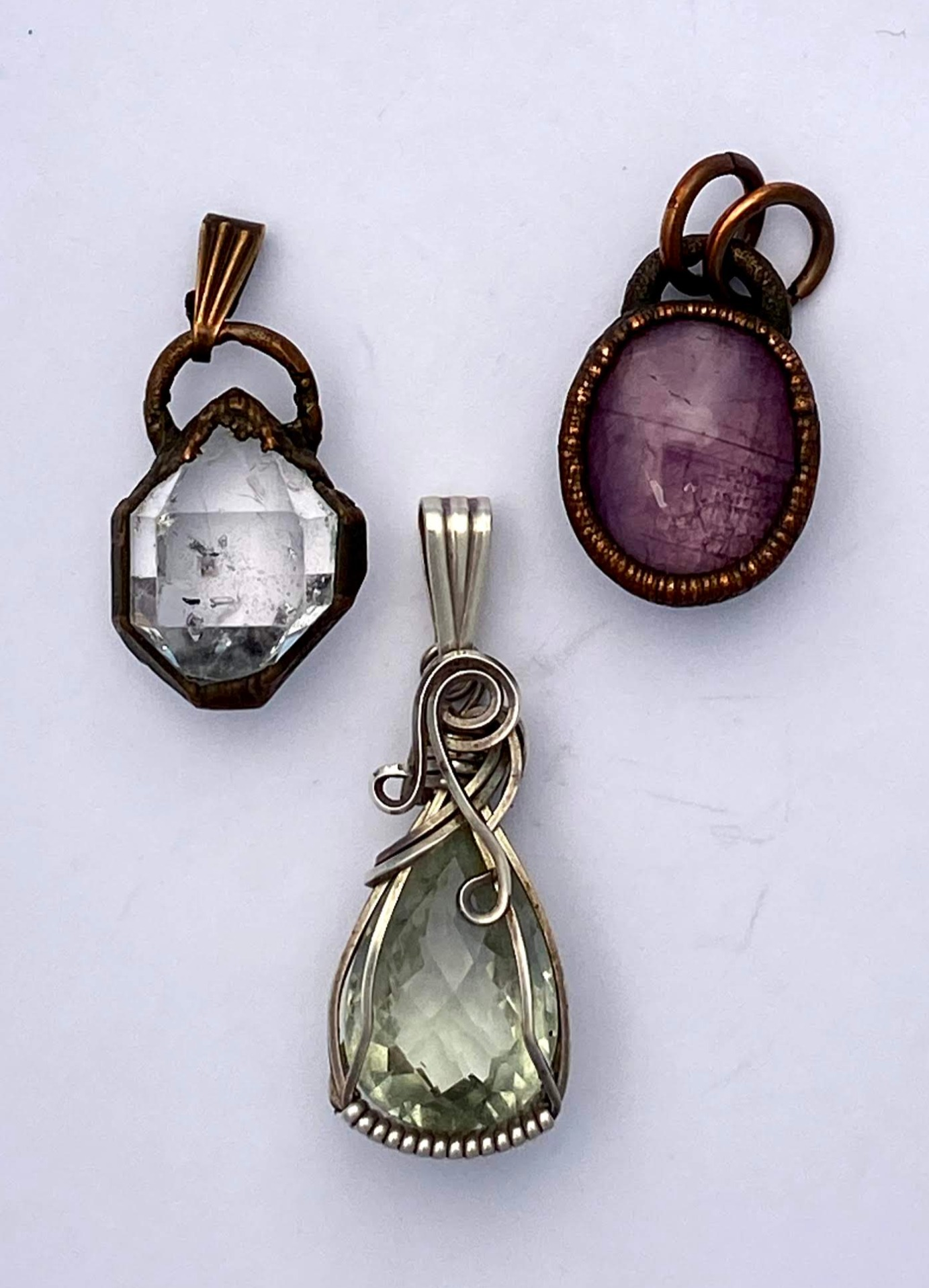 Herkimer diamond, star ruby, and green amethyst