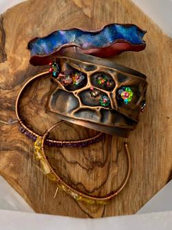 Cuff bracelets & enameled bangle