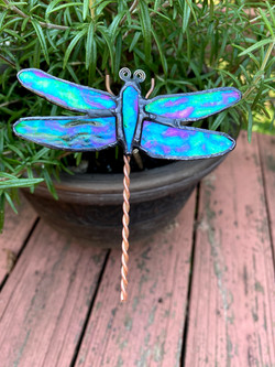 Stained glass dragon fly plant stake