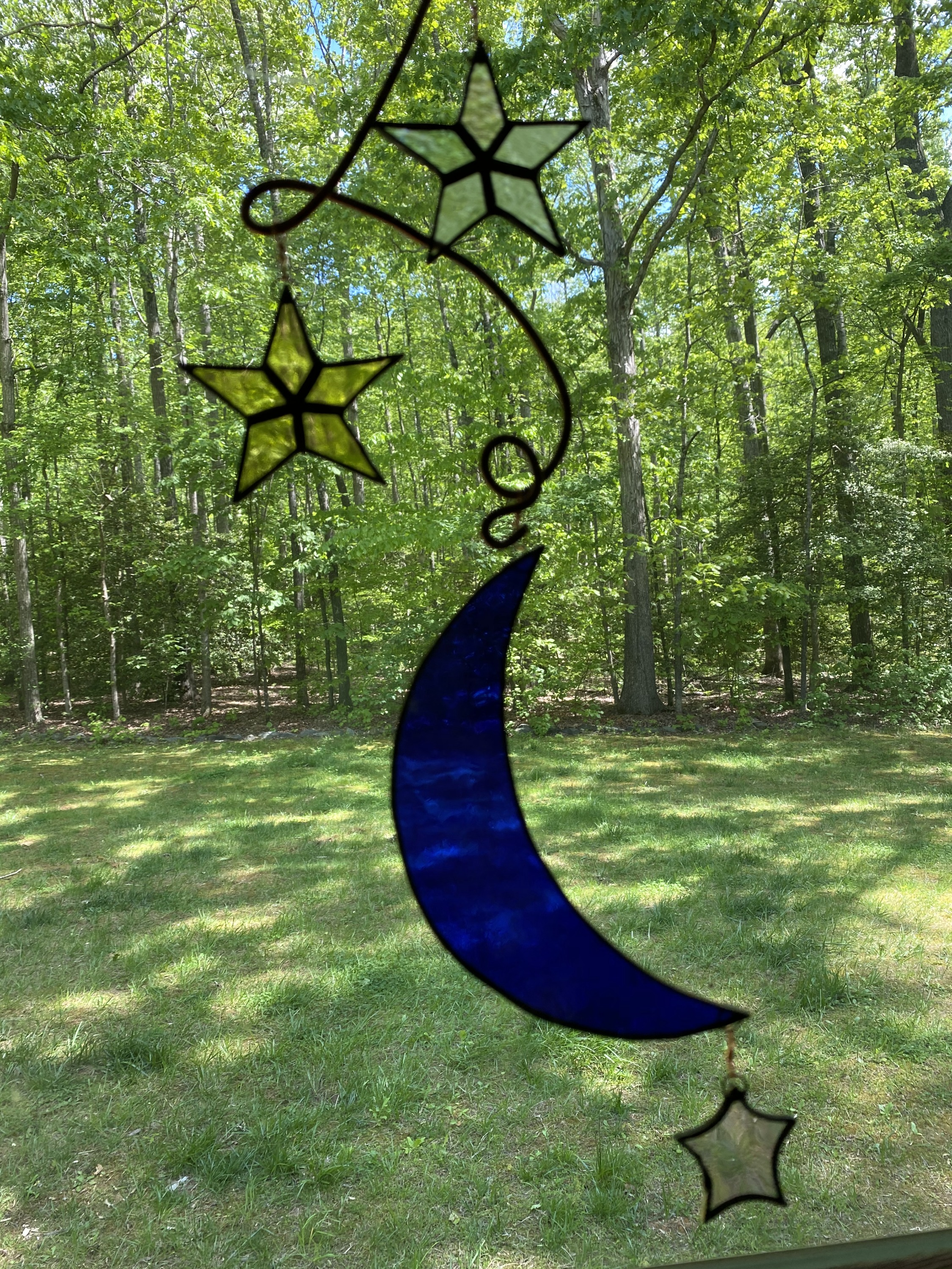 stained glass blue moon and stars suncatcher