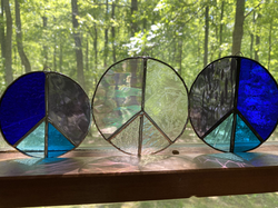 Stained glass peace signs suncatchers