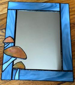 Stained glass mushroom mirror
