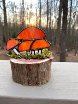 Stained glass mini sculpture on cedar