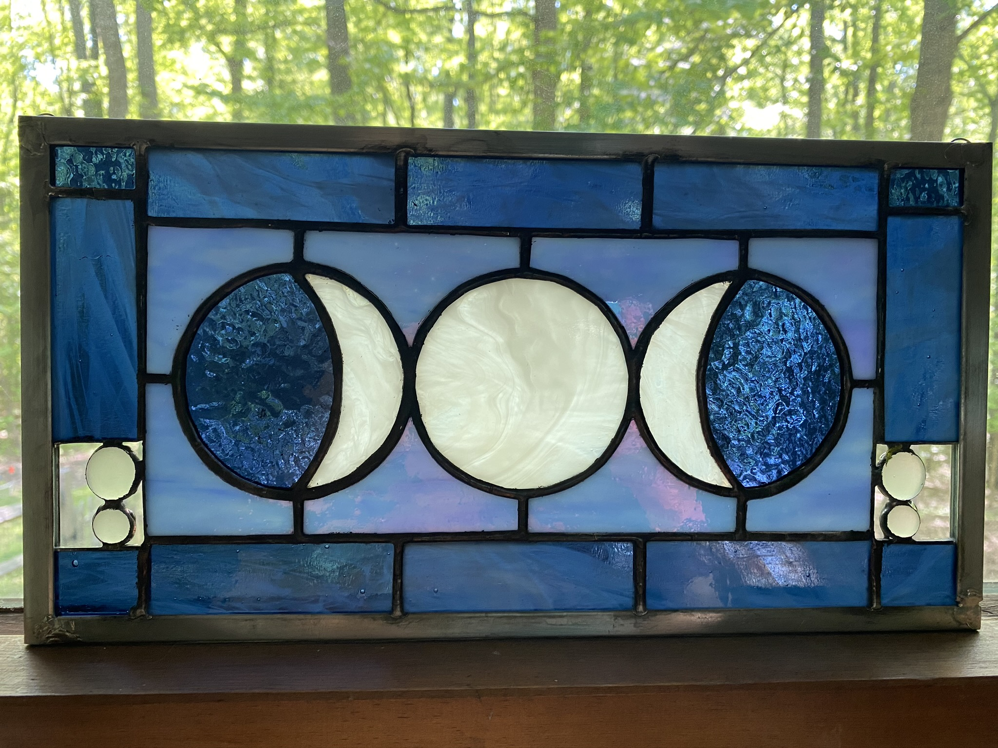 Stained glass moon phases panel