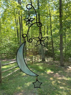 Stained glass white moon and stars suncatcher