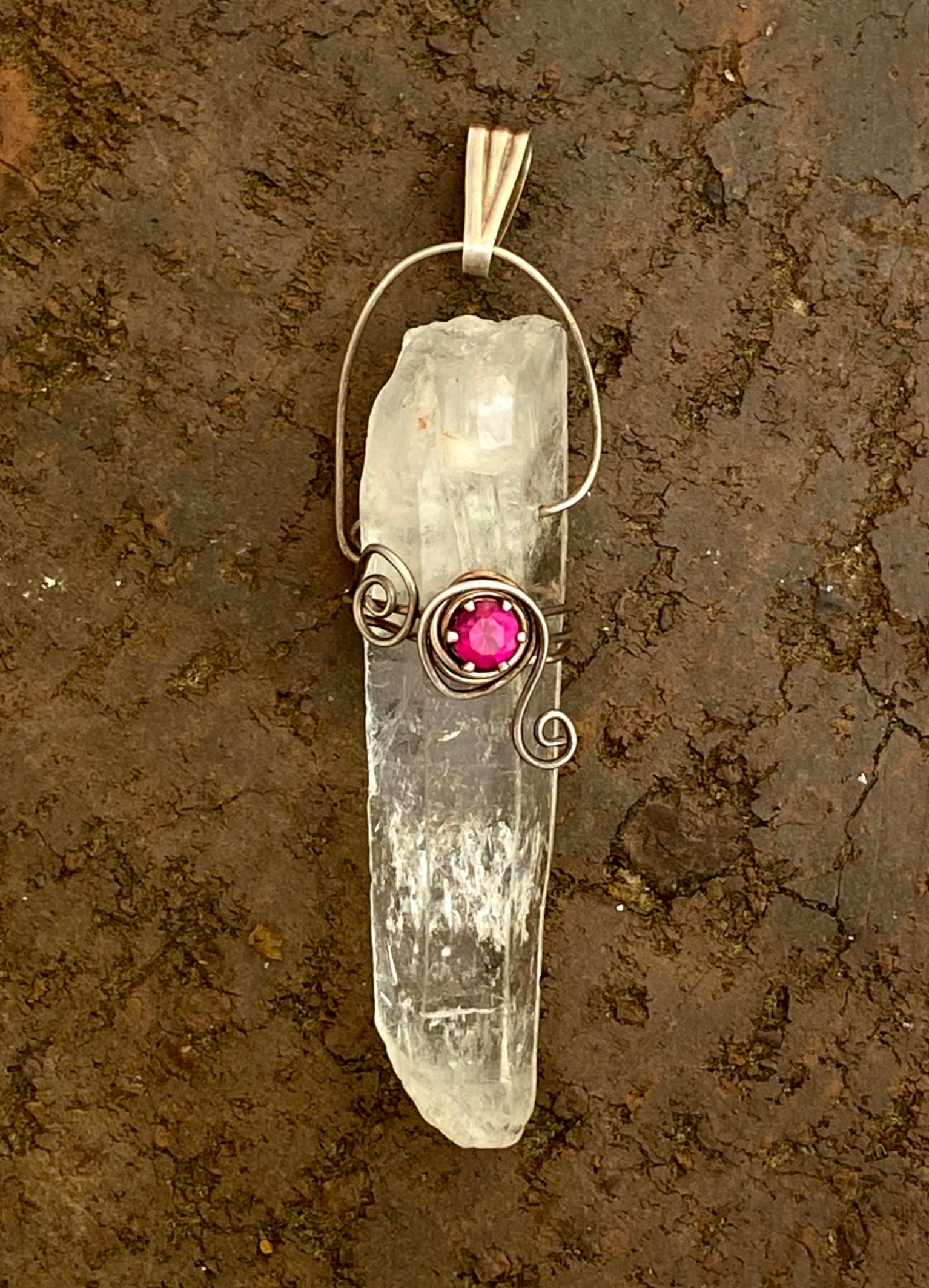Quartz crystal and lab created ruby