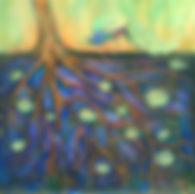 Peacock Tree, 16''x16'', Acrylic on Canv