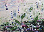 Pickerel Weed, 12''x16'', Encaustic on W