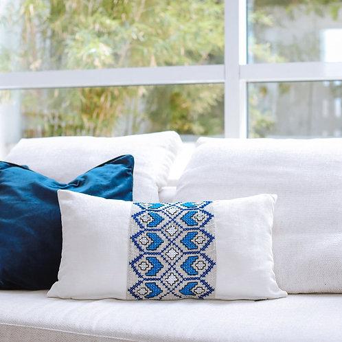 Aegean Mist Embroidered Cushion