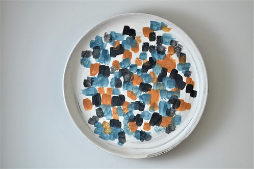 """Multi-colored Porcelain 9.5"""" Plate, Handcrafted"""