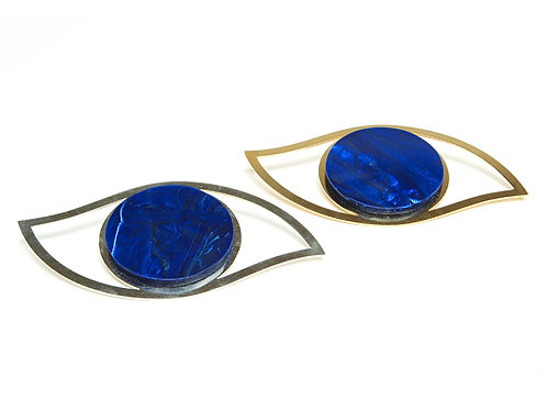 Eye Coaster with Lapis Stone, Gold or Silver