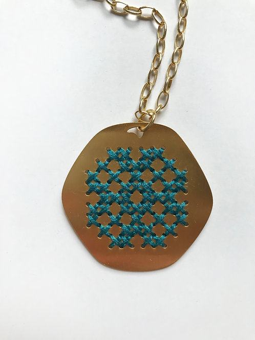 Lace Necklace, Teal