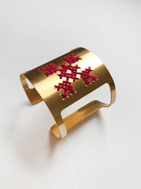 The Greek Source Lycoris Cuff, Gold & Silk Cross Stitched