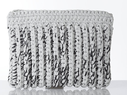 Moroccan Grass Clutch, Black & White