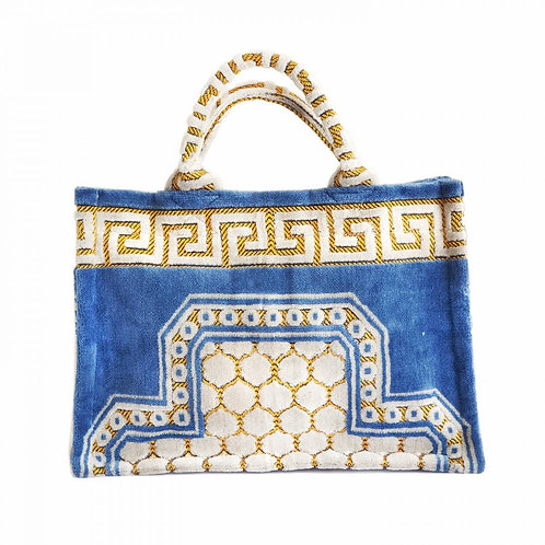 Athena Woven Tote Bag, Powder Blue