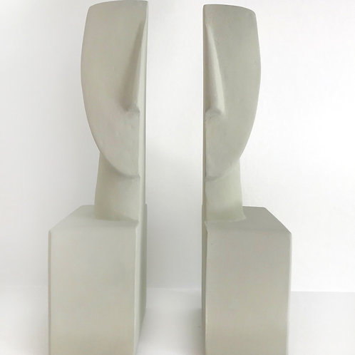 Cycladic Ceramic Bookends, Set of 2