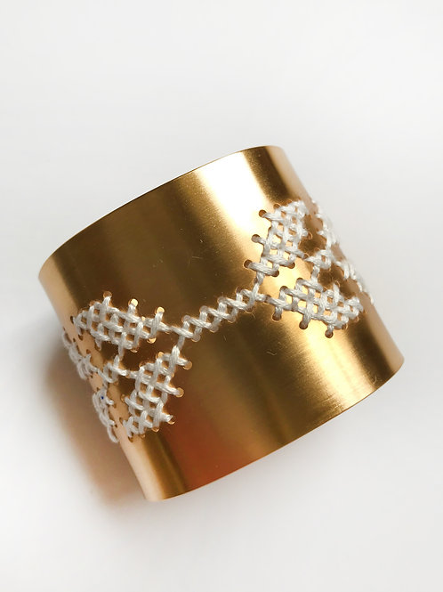 The Greek Source Wings Cuff, Gold & Silk Cross Stitched