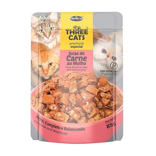 Three Cats Sache - Iscas de Carne - Adultos - 85g