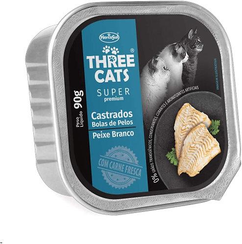 Three Cats Pate - Castrados - Bola de Pelo - Peixe Branco - 90g