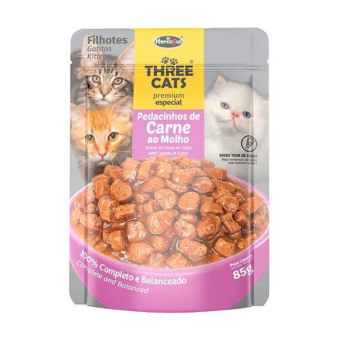 Three Cats Sache - Pedacinhos de Carne - Filhotes - 85g