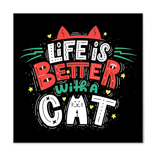 Mini Placa - Life is Better with a Cat