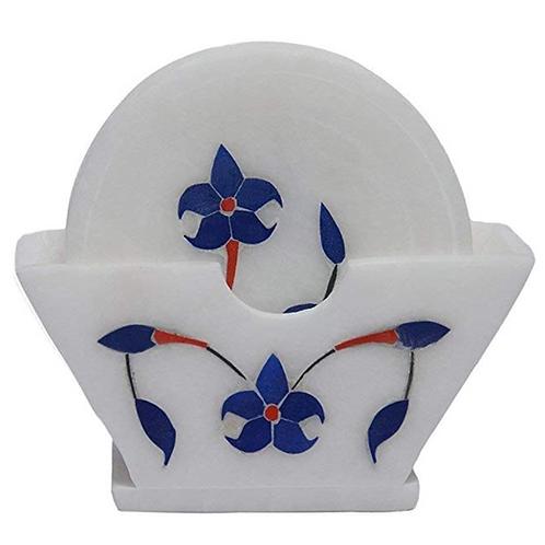 Handmade Round White Coaster with Inlay Work