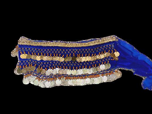 Blue Satin Belly Dance Belt