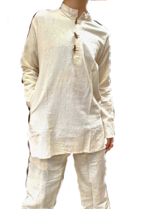 Off-White Comfy Cotton Linen Kurta