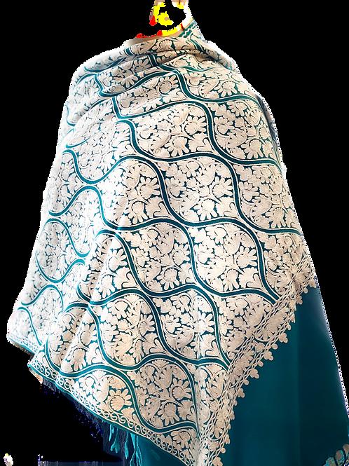 Turquoise White Heavy Work Kashmir Pashmina