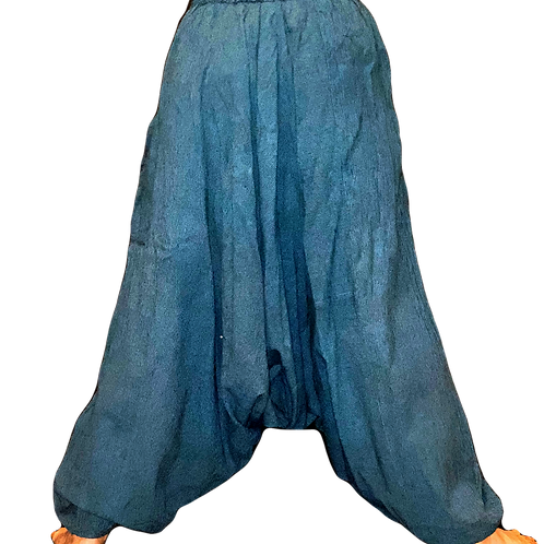 D-Blue + Black Striped Harem Pants